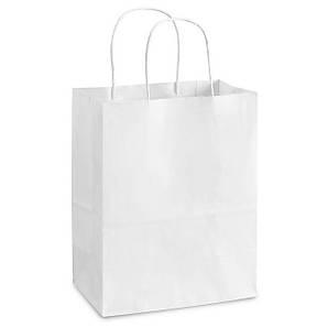 Пакет бумажный с дном 26х14х33,5 см., 50 шт/ящ с кручеными ручками, белый крафт