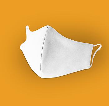 Белая текстильная маска на лицо с швом посередине для сублимации