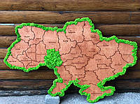 Деревянная карта Украины 1х0,65 м. со стабилизированным мхом Декор для дома офиса Оригинальный подарок из мха