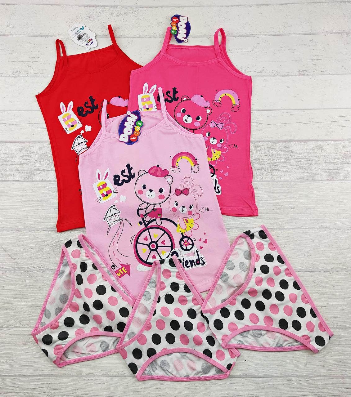 Комплект детского нижнего белья майка и трусики для девочек 2-3 года