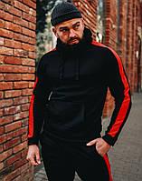 Спортивный костюм мужской зимний на флисе с капюшоном теплый черный с красным. Живое фото