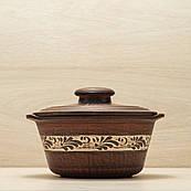 Баняк глиняний з ручками, різьблений візерунок, ангоб 1,2 л