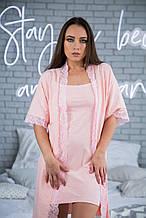 Комплект трикотажный  халат + ночная рубашка розовый