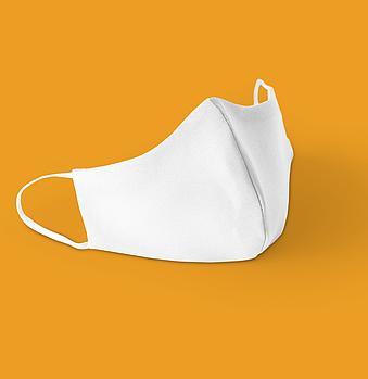 Белая текстильная маска на лицо с швом посередине для печати