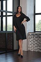 Женское черное прямое платье больших размеров, фото 1