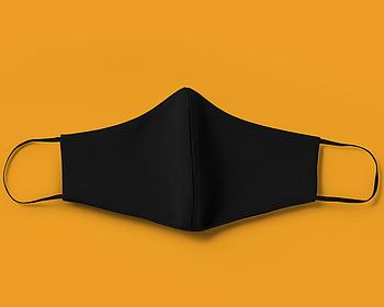 Черная текстильная маска на лицо с швом посередине для печати