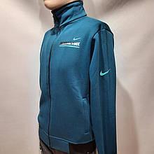 Чоловіча спортивна кофта тепла на блискавці (Найк) олімпійка з трикотажу Туреччина Синя