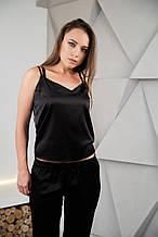 Пижама тройка шелковая черная