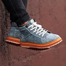 Ботинки зимние мужские South navy dark grey, классические зимние ботинки на зиму