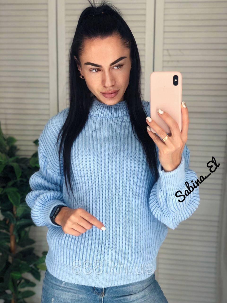 Универсальный женский свитер, теплый, 42-48 р, цвет голубой