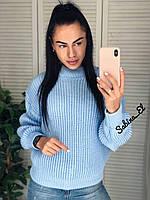 Универсальный женский свитер, теплый, 42-48 р, цвет голубой, фото 1