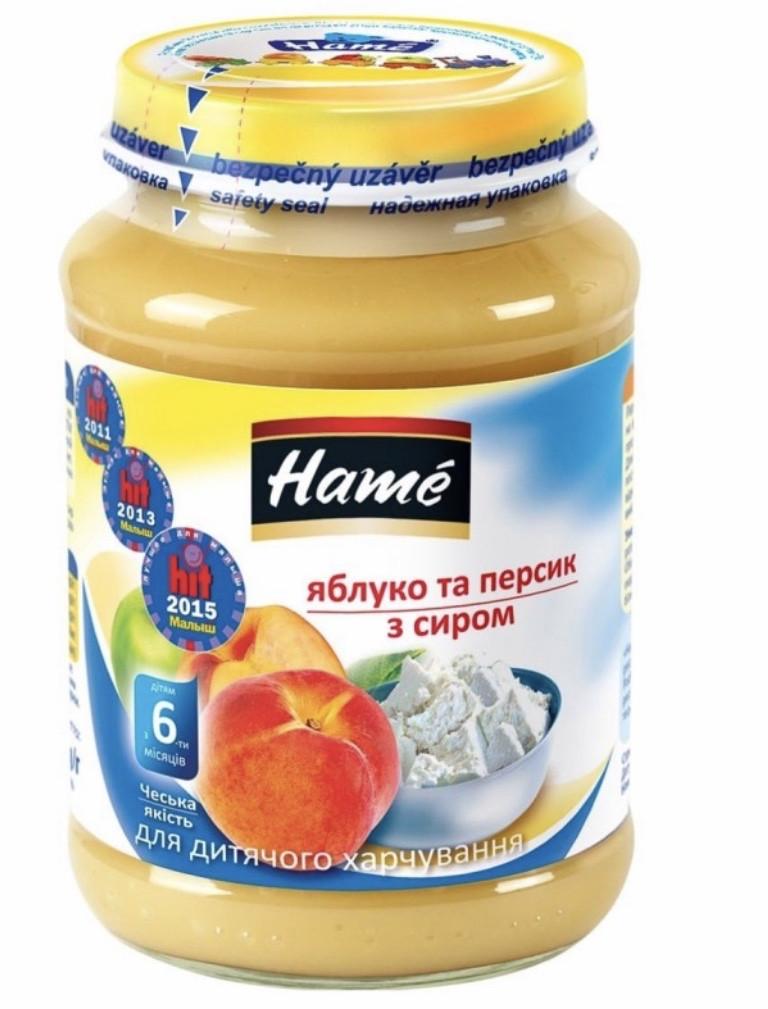 Пюре Hame яблуко та персик з сиром, з 6 місяців 190 г