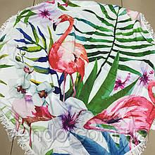 Пляжный коврик Фламинго в папороте 150х150 см