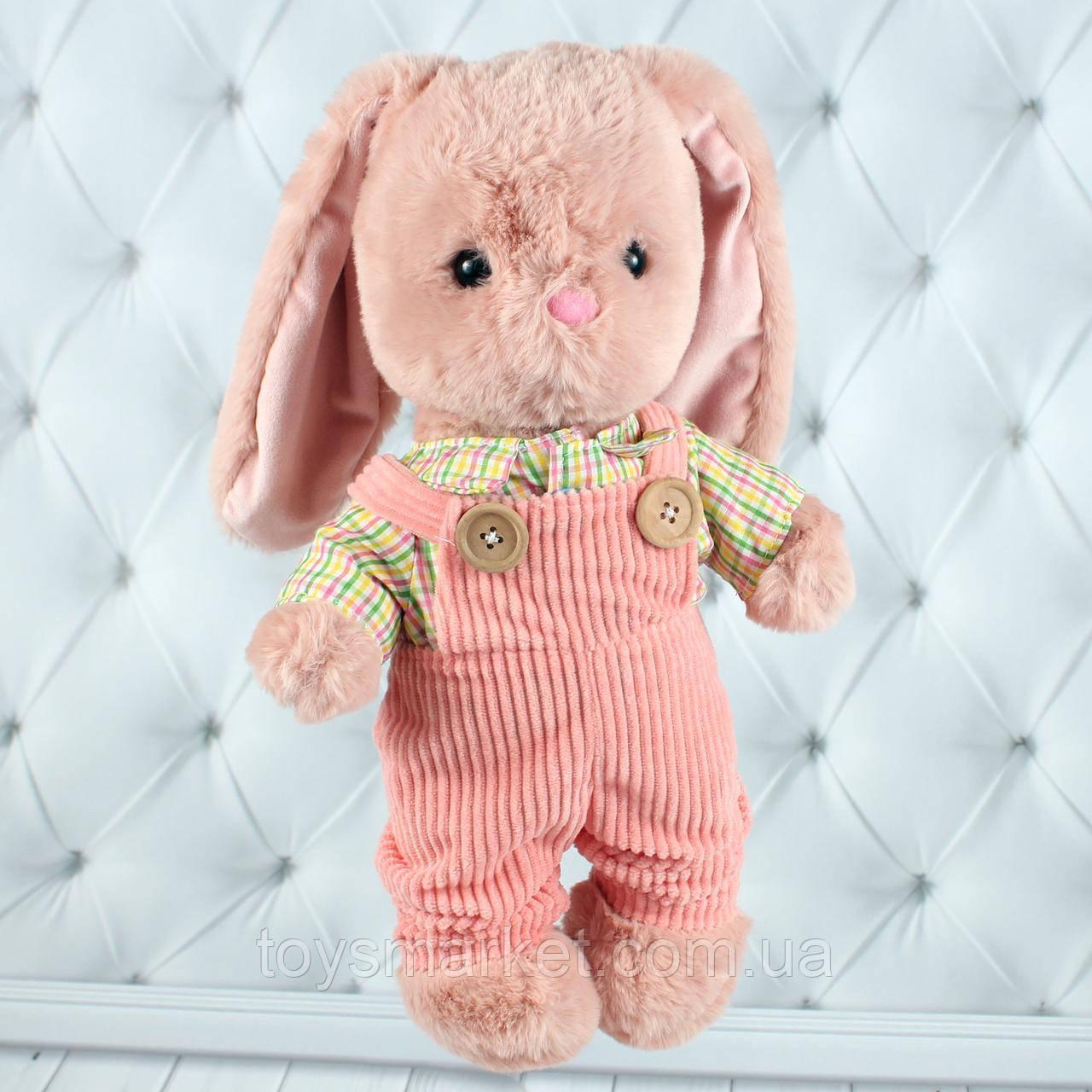 Мягкая игрушка зайка Николя, плюшевый зайчик 35 см.