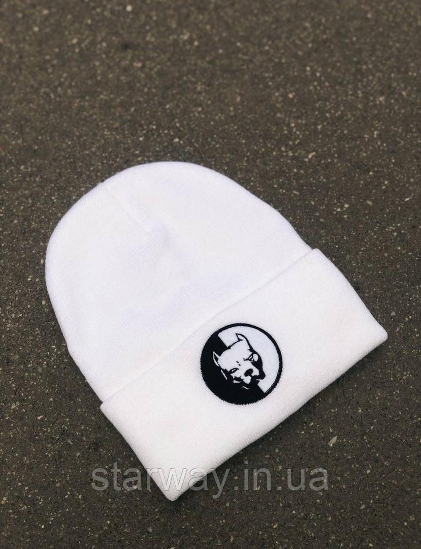 Стильная шапка PitBull логотип вышивка