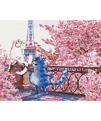 Картины по номерам - Коты в Париже   Идейка™ 40х50 см.   KH4047