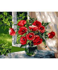 Картини за номерами - Маки біля вікна | Rainbow Art™ 40х50 див. | GX9298