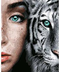 Картины по номерам - Девушка и тигр   Rainbow Art™ 40х50 см.   GX31989