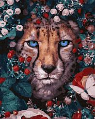 Картины по номерам - Цветочной леопард   Rainbow Art™ 40х50 см.   GX32765