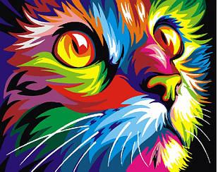 Картины по номерам - Радужный кот   Brushme™ 40х50 см.   GX4228