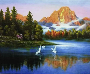 Картини за номерами - Ранок на озері | Lesko™ 40х50 див. | RSB8178