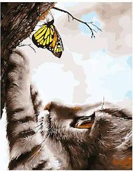 Картины по номерам - Котик и бабочка   Brushme™ 40х50 см.   GX21648