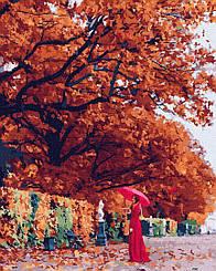 Картины по номерам - Осенняя мадам   Brushme™ 40х50 см.   GX25391
