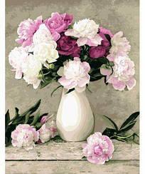 Картини за номерами - Півонії в білій вазі | Rainbow Art™ 40х50 див. | G069