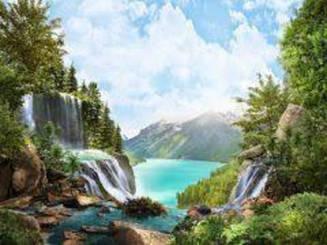 Картини за номерами - Водоспад | Lesko™ 40х50 див. | RSB8164