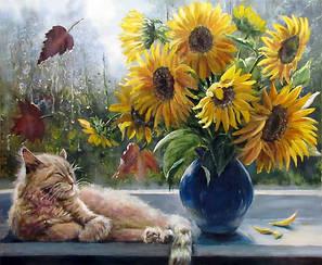 Картины по номерам - Подсолнухи и кот | Lesko™ 40х50 см. | RSB8232