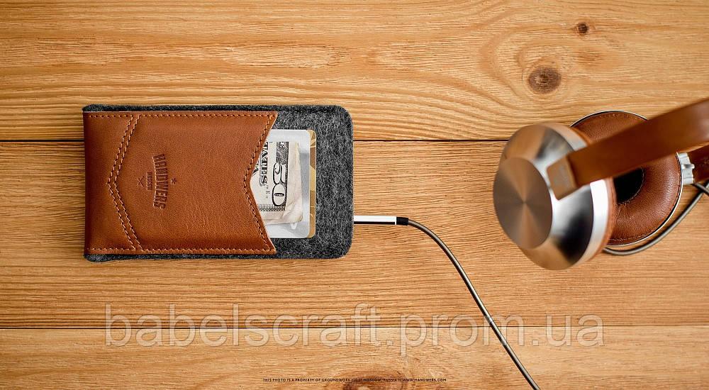 Чехол HandWers для iPhone SE, WELT Коричневый с тёмным