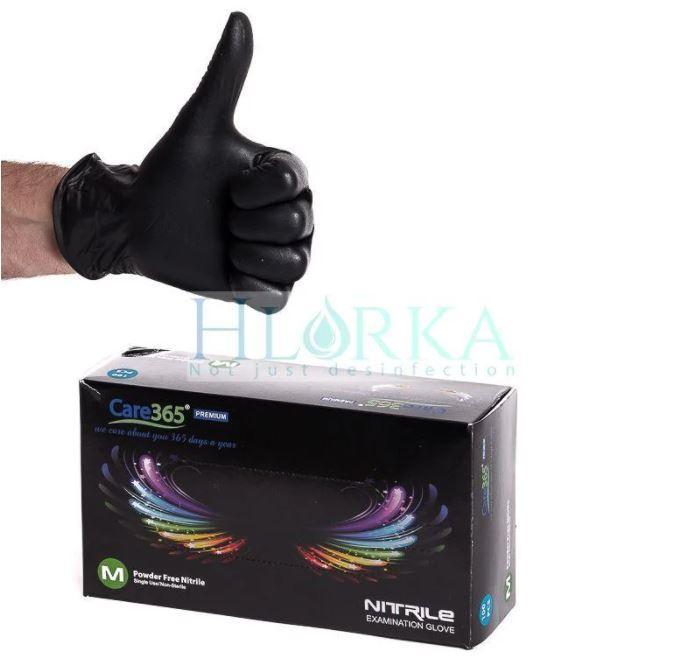 Перчатки нитриловые PREMIUM (5,5 г), Черные (100 шт/уп) Care365 L