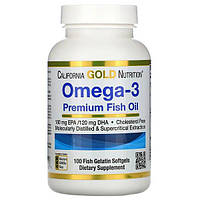 Омега-3, рыбий жир премиального качества 100 капсул, California Gold Nutrition