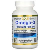 Омега-3 риб'ячий жир преміальної якості 100 капсул, California Gold Nutrition