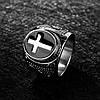 Чоловіче перстень-печатка із сталі з хрестом, р. 18, 19, 20, 20.7