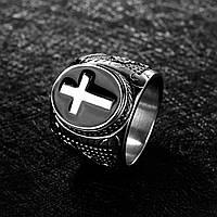 Чоловіче перстень-печатка із сталі з хрестом, р. 18, 19, 20, 20.7, фото 1
