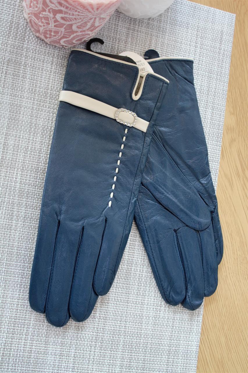 Женские кожаные перчатки синие Большие 3-374