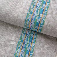 Льон рушникові жакардовий з зелено-блакитної смужкою, ш. 75 см