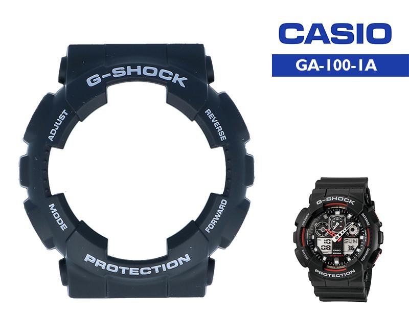 Безель Casio G-Shock GA-100 Black Original с белыми надписями
