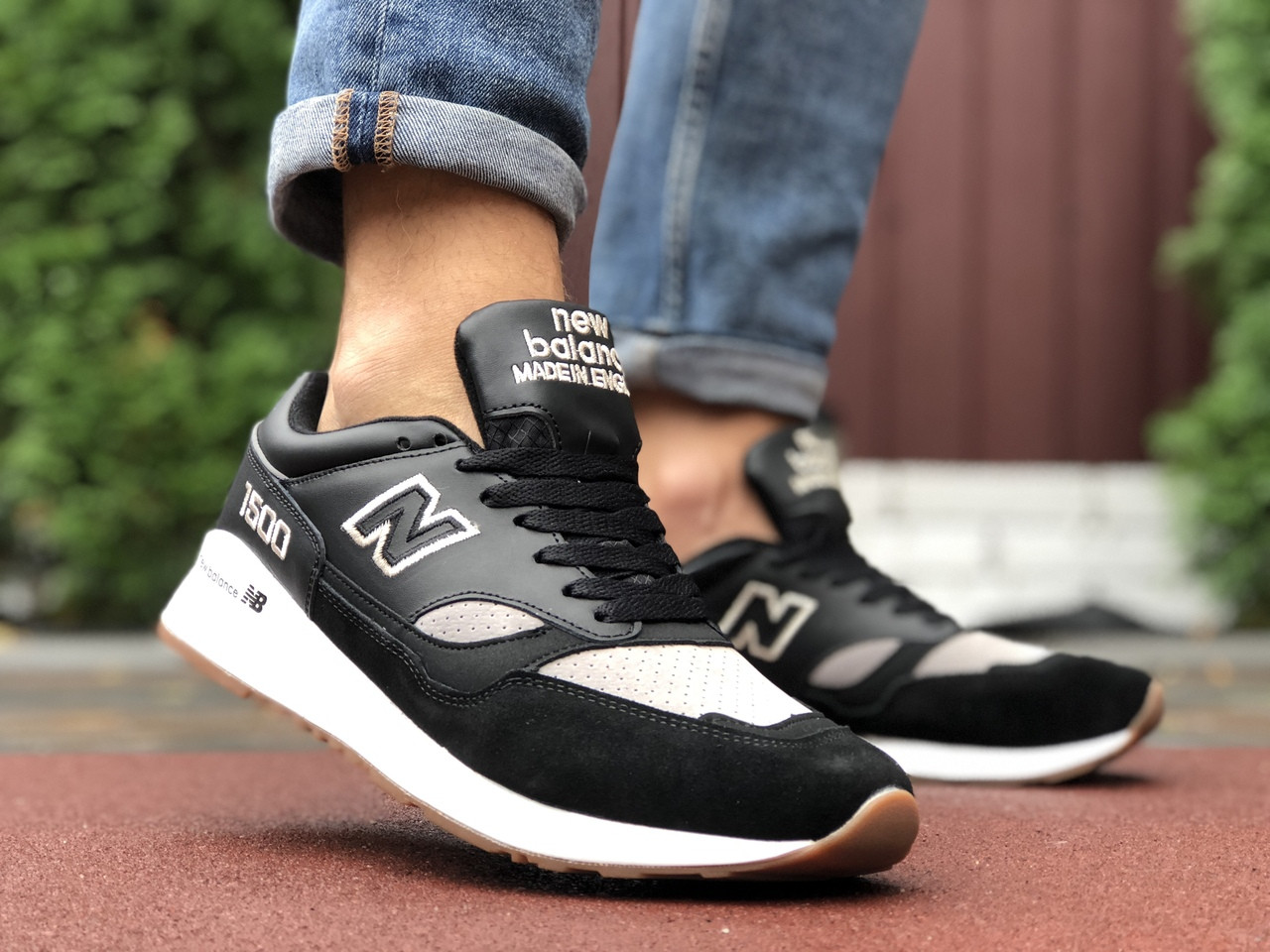 Мужские кроссовки New Balance 1500 (черно-серые с белым) 9906