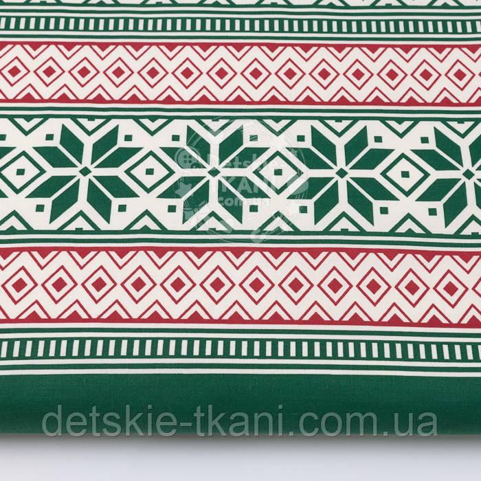 Тканина бязь з новорічним орнаментом червоно-зеленого кольору, №3023а