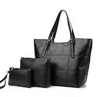 Набор женских сумок 3 в 1 большая сумка, кошелек и маленькая сумка, черная, фото 1