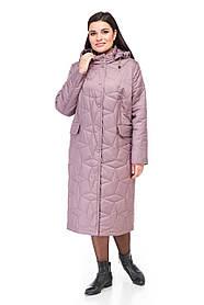Демисезонное стеганое пальто ниже колена высокого качества,  размер 44-60