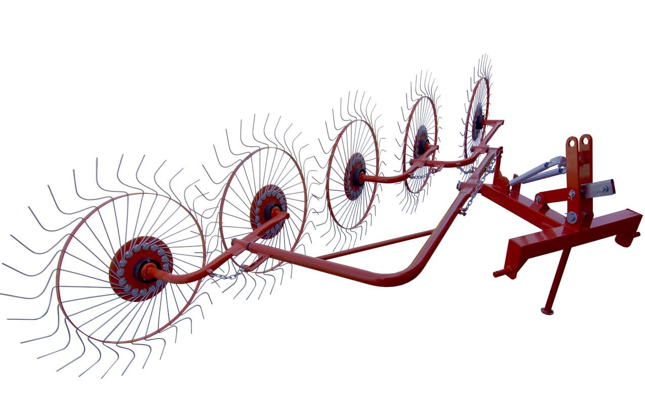 Грабли ворошилки 5-колесные (круглая труба) для трактора