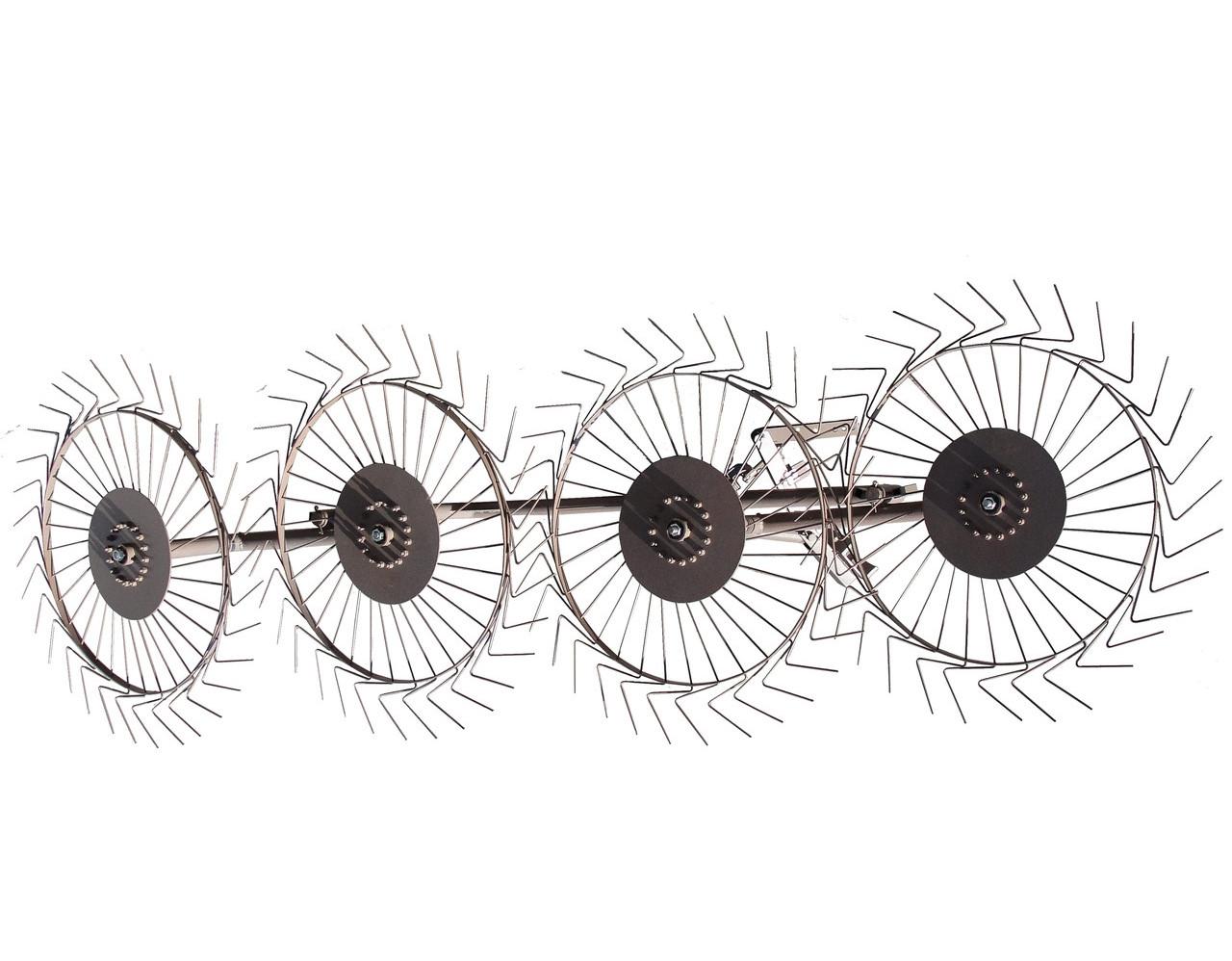 Грабли к мотоблоку / мототрактора ворошилки Солнышко 4-колесные ШИП