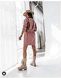 Женское платье свободное двухнитка длинный рукав резинка на талии размер: 42-44,46-48,50-52,54-56, фото 2