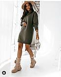 Женское платье свободное двухнитка длинный рукав резинка на талии размер: 42-44,46-48,50-52,54-56, фото 5