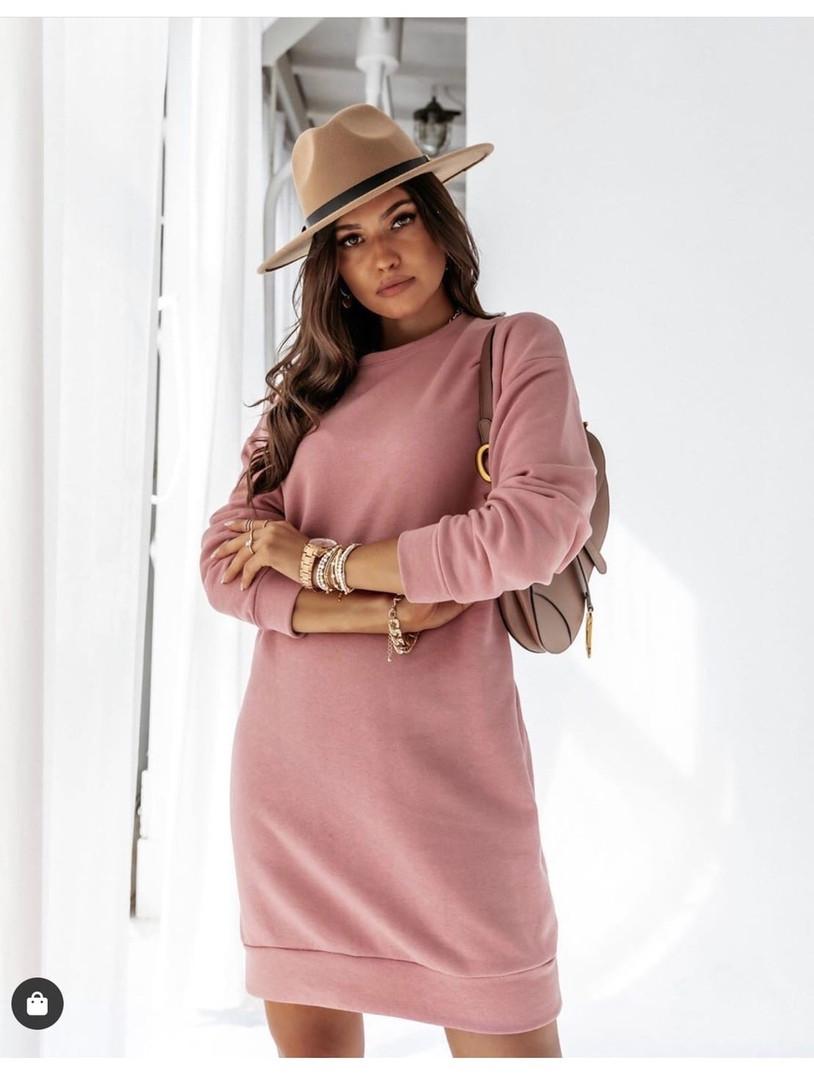 Женское платье свободное двухнитка длинный рукав резинка на талии размер: 42-44,46-48,50-52,54-56