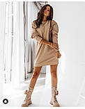Женское платье свободное двухнитка длинный рукав резинка на талии размер: 42-44,46-48,50-52,54-56, фото 6