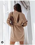 Женское платье свободное двухнитка длинный рукав резинка на талии размер: 42-44,46-48,50-52,54-56, фото 7